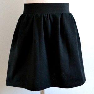 Elastic waist dark denim skater skirt
